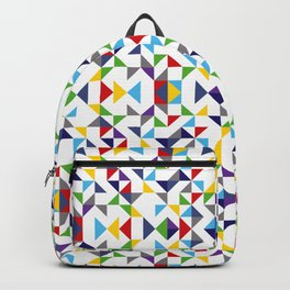 Geometric Pattern Colorful, white background. Good vibes by Cokowo. Backpack