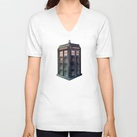 tardis V-neck T-shirts featuring TARDIS by Jordan