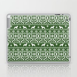 Cocker Spaniel fair isle christmas pattern dog breed holiday gifts green and white Laptop & iPad Skin