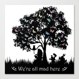 We're All Mad Here III - Alice In Wonderland Silhouette Art Canvas Print
