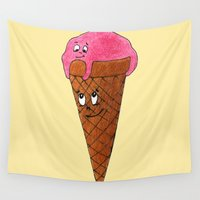 ice cream Wall Tapestries featuring Ice cream by Anna Shell