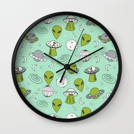 Alien outer space cute aliens french fries rad sodas pattern print mint Wall Clock
