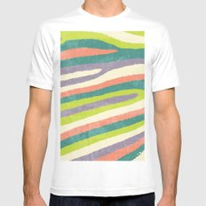 Fruit Stripes. Mens Fitted Tee MEDIUM White