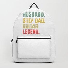 Funny Men Vintage T Shirt Husband Step Dad Guitar Legend Backpack
