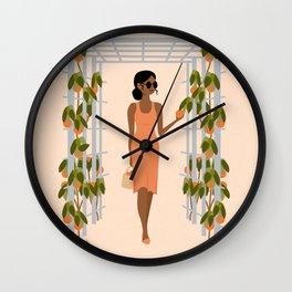 orange trees Wall Clock
