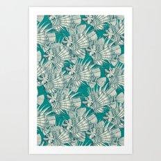 fish mirage teal Art Print
