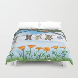 robins, poppies, & teddy bears on the line Duvet Cover