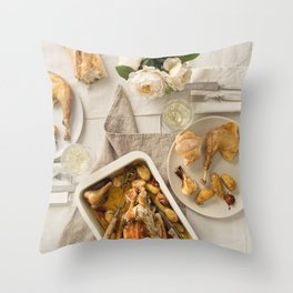 Vintage festive table for two Throw Pillow