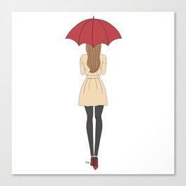 Fashion Girl Red Umbrella Red Bottom Heels Canvas Print