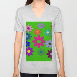 Flower Power - Green Background, Bright Colors, Fun Flower Power Desig Unisex V-Neck
