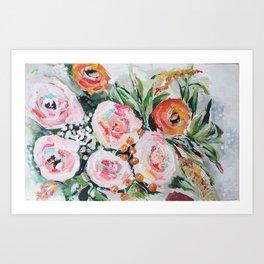Boho pink and orange floral bouquet Art Print
