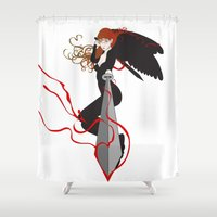 justice league Shower Curtains featuring Justice by Stevyn Llewellyn