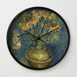 Crown Imperials in a Copper Vase Wall Clock