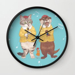 A GIRL WITH CAT and OTTER wide Wall Clock