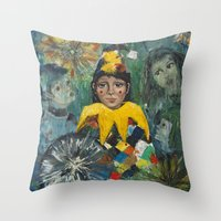 clown Throw Pillows featuring Clown by May Ling Yong