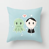 lovecraft Throw Pillows featuring Lovecraft and Chtulhu by Cloudsfactory