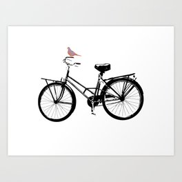 Baker's bicycle with bird Art Print