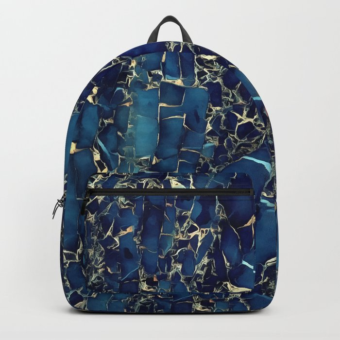 Dark blue stone marble abstract texture with gold streaks Backpack
