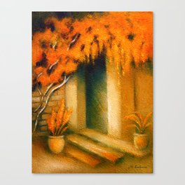 Terrace in the Light - Mediterranean Paintings Canvas Print