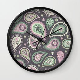 Soft romatic paisleys Wall Clock