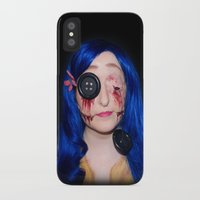 coraline iPhone & iPod Cases featuring Gory Coraline by Janelle Jex