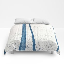 Parallel Universe [vertical]: a pretty, minimal, abstract piece in lines of vibrant blue and white Comforters