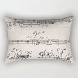Flute Patent - Musician Art - Antique Rectangular Pillow