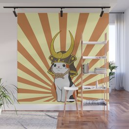 Japanese Bobtail Cat Wears Samurai Hat Wall Mural