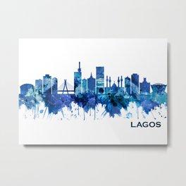 Lagos Nigeria Skyline Blue Metal Print