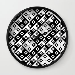 Diagonal squares in black and white Wall Clock