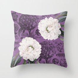 White Peony Purple Collage Throw Pillow