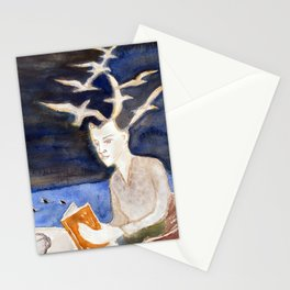 Fan art: woman reading by the sea of sharks at night Stationery Cards
