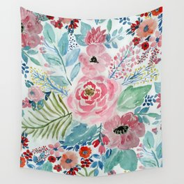 Pretty watercolor hand paint floral artwork. Wall Tapestry