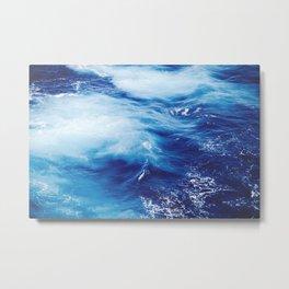 Navy Blue Ocean Wave Metal Print