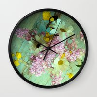country Wall Clocks featuring country flowers by Joke Vermeer