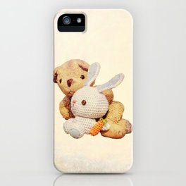 lovely teddy bear and bunny iPhone Case