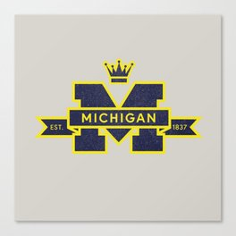 Michigan Block M Retro & Vintage Canvas Print