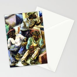 African American Masterpiece 'Brick Masons' portrait painting by G. Bellows Stationery Cards