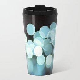 Aqua Black Bokeh Abstract Photography, Turquoise Sparkle Print, Teal Blue Sparkly Art Photo Travel Mug