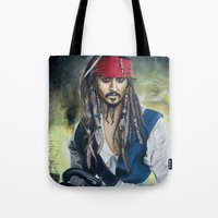 jack sparrow Tote Bags featuring Captain Jack Sparrow by zlicka