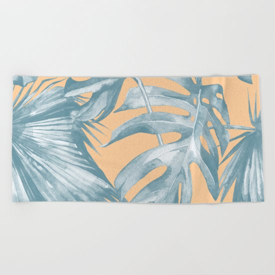 Island Vacation Hibiscus Palm Mango Ocean Blue Beach Towel