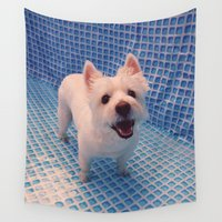 pool Wall Tapestries featuring pool by applepiechucker