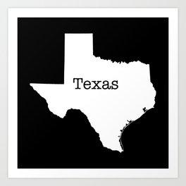 Texas State outline  Art Print