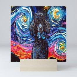 Black Poodle Night Mini Art Print