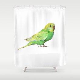 Geometric green parakeet Shower Curtain