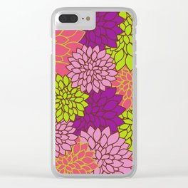 Dahlia Flowers, Blossoms - Pink Purple Green Clear iPhone Case
