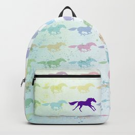 Horses Running Pastel Watercolors Pattern Backpack