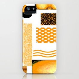 DEEP YELLOW ABSTRACT RETRO ART  WITH ORANGE YELLOW AND BLACK iPhone Case