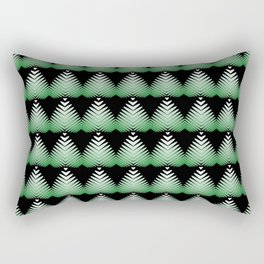 Pattern of green hearts and flowers on a black background. Rectangular Pillow