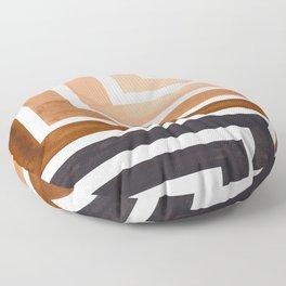Raw Umber Mid Century Modern Watercolor Colorful Ancient Aztec Art Pattern Minimalist Geometric Patt Floor Pillow
